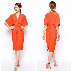 ASOS 12 Red Midi Pencil Dress Wrap Kimono Sleeves